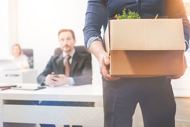 Strategies to reduce employee turnover: Disappointed savvy worker leaving the company